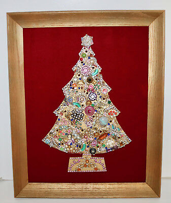 Art Collage vintage jewelry light up framed Christmas tree