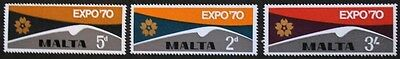 World fair stamps, Expo 70, Malta, 1970, SG ref: 438-440, 3 stamp set, MNH