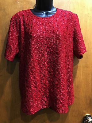 80059512f1a Women s Red Plus Size 18W Short Sleeve Top Blouse Embroidered Flowers Mesh