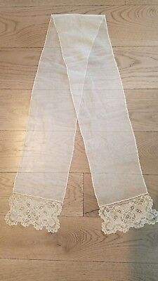 Wonderful Antique Hand Made Victorian Clace Ivory Lappet Scarf Euc