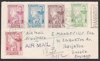 Burma. 1949 Air Mail Cover from Rangoon to Brighton, England.