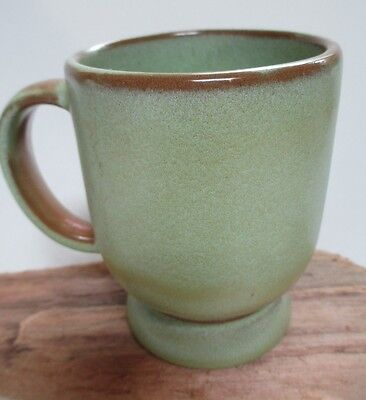 Vintage Frankoma C 2 Coffee Mug Footed Plainsman Prairie Green