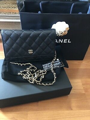 4a9082a782606 Authentic Rare Chanel Black WOC Caviar Crossbody Quilted Flap Bag Gold  Hardware