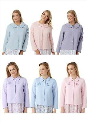 Ladies Lightweight Quilted & Fleece Bed Jackets Embroidered Short Dressing Gown