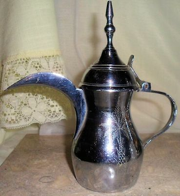 Hinged Lid Antique Dallah Arabic Coffee Pot Turkish Tea Server Etched 86710 #37