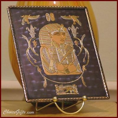 Antique Silver/Copper/Brass Inlaid Egyptian Bronze Wall Plaque~Ancient King Tut!