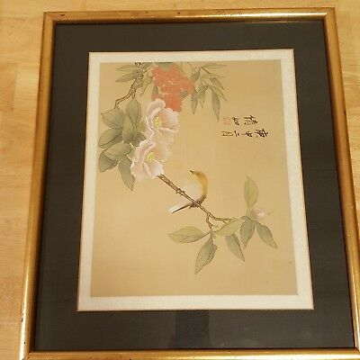 Asian Floral & Bird Watercolor Painting On Silk Signed / Framed