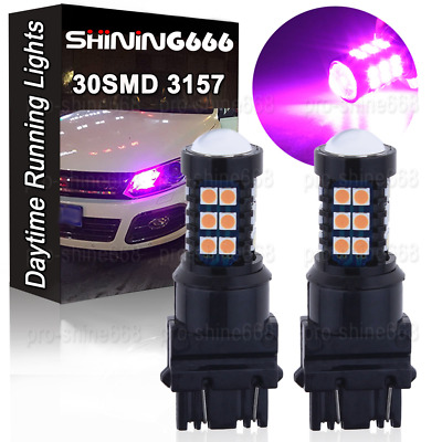 2pcs Purple Pink 3157 30SMD 3030Chip Daytime Running Lights LED Bulbs DRL Lamp