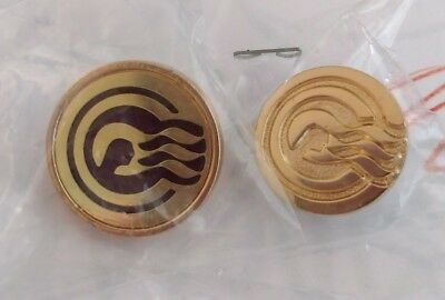 NEW Princess Cruises Gold Colored Ruby Captains Circle Lapel Tie Pin Set MINT !!