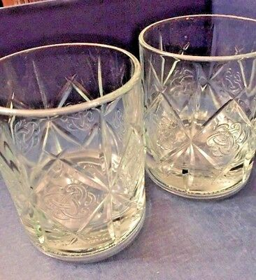 2 Dewar's Celtic Knot High Ball weighted Whiskey Double Old Fashioned Rock Glass