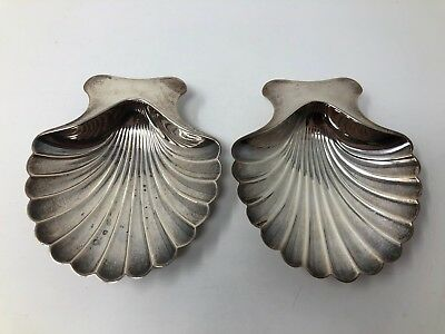 """Tiffany 22369 Sterling Silver Pair Shell Nut Dishes 4"""" No Mono"""