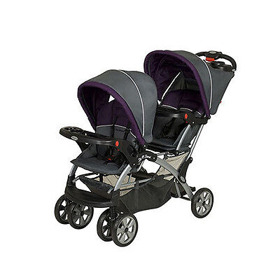 Double Baby Stroller Sit Stand Car Seat Compatible Toddler Twin Carriage Purple