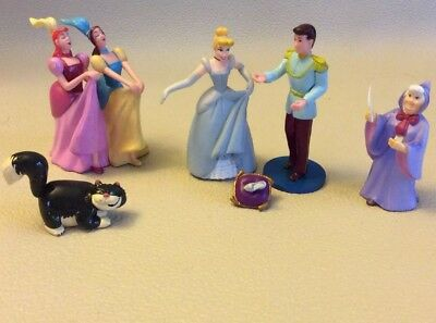 Disney Cinderella Prince Fairy Godmother Step Sisters Figures Cake Toppers Lot