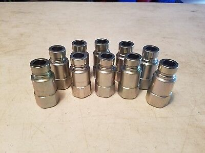 Lot Of 10 Hydraulic Quick Couplers, 1/2'' Flat Face Quick Disconnects