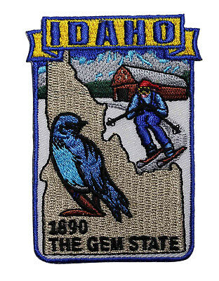 State Of Idaho Embroidered Iron On Patch - Travel Souvenir The Gem State 219-K