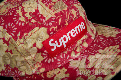 SUPREME WASHED CHINO Twill Camp Cap Floral Ss18 2018 Red Box Logo ... c4a7a0623785