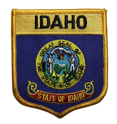 State Of Idaho Shield Flag Embroidered Iron On Patch - Travel Souvenir ID 219-J