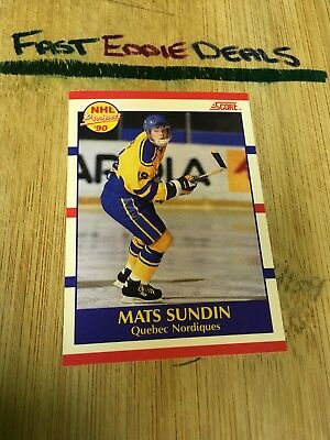 Score Hockey 1990 Mats Sundin Nhl Prospect Rookie Card 398 Quebec Nordiques