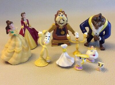 Disney Beauty & The Beast Figurine Lot Belle Clock & More  Figures Cake Toppers