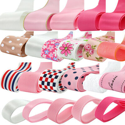 24yds Grosgrain Satin Lace Fabric Ribbon DIY Hair Bow Craft Assorted Pattern