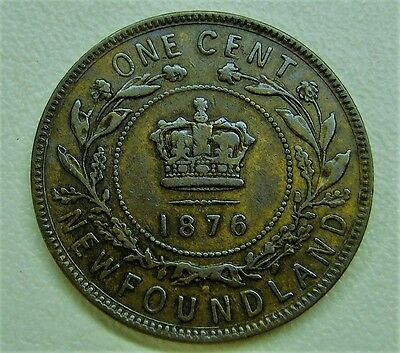 1876 H Newfoundland Large Cent Victoria Coin High Grade