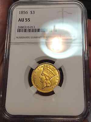 1856 $3.00 NGC AU 55 INDIAN PRINCESS HEAD VERY RARE DATE ONLY 168 in AU55 by NGC