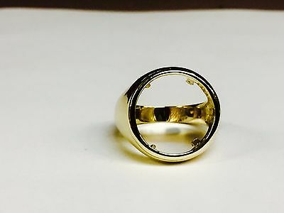 18k Yellow Gold Men's Ring  20 MM for  1/10 OZ US LIBERTY COIN  (mounting only)