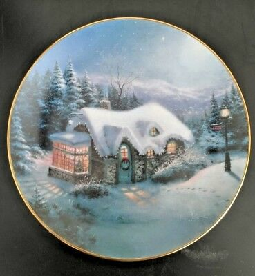 Thomas Kinkade Collector Plate - Silent Night - 1992 Certificate Winter Holidays