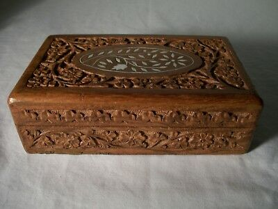 """Vintage Carved Wooden Jewelry//Cigar//Trinket Box Storage India Made 8"""" Long"""