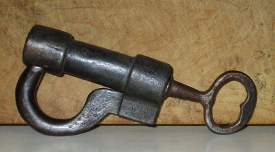Rare Antique Early 19Th Century Hand Forged Iron Lock With Key