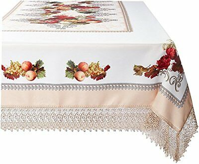 Violet Linen Decorative Printed Fruttela Tablecloth With Lace Trimming, Ivory, 7