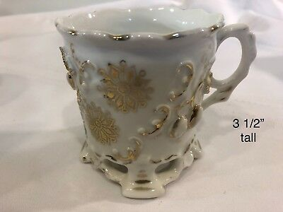 vintage ornate Victorian white with gold shaving mug with lace type feet (771)