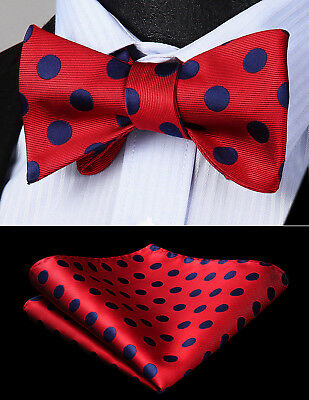 Mens Woven Silk Navy Blue Red Polka Dot Self Bow Tie Pocket Square Set BD201R1S