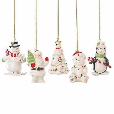 Lenox ~ Very Merry Christmas 5 Piece Holiday Ornament Set ~ Santa  NEW in Boxes