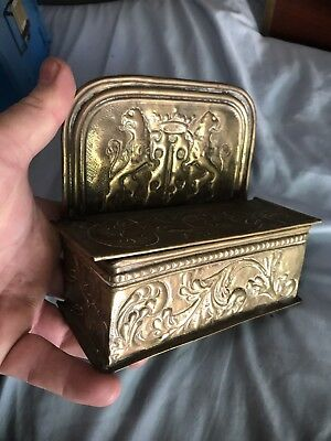 Brass Antique European Tobacco Taper Candle Match Wall Box Hammered Brass Crest