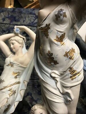 "PAIR Antique Porcelain Victorian Lady Putti Venus Nude Breasted Nude 18"" Figures"