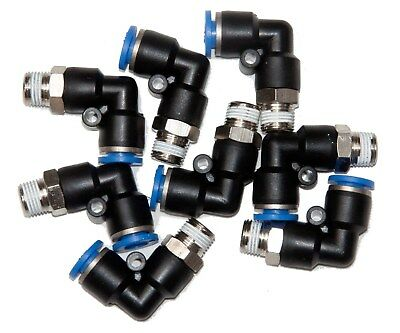 """10 Pieces  pneumatic 1/4"""" Tube x 1/8"""" NPT Male Swivel L push to connect  fitting"""