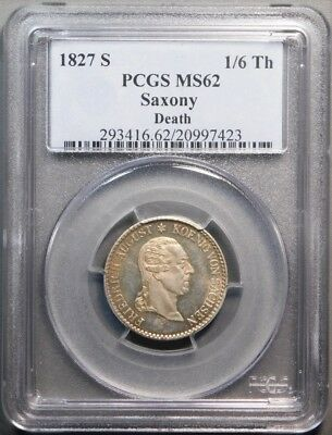 Germany Saxony 1827-S Silver 1/6 Thaler PCGS MS62 - King's Death Prooflike!