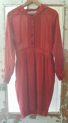 Vintage 1980s womens' semi sheer red and black stripe dress  size AUS/UK 12-14