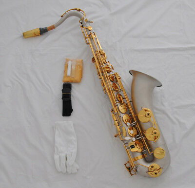 Professional Satin Silver Nickel Bb Tenor High F# SAX Saxophone with case