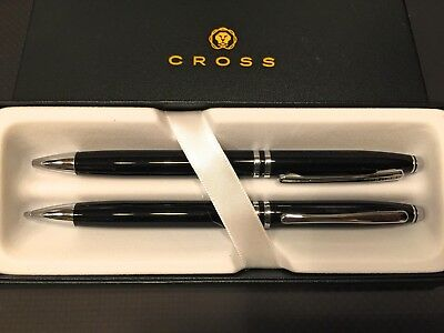 AT Cross Luxury Gift Set Black Lacquer Ballpoint Pen & 0.7mm Pencil- NIB W/card