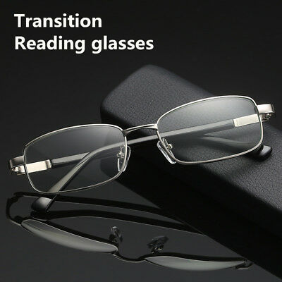 db3224fc4d55 Transition/photochromic in grey Alloy Reading glasses for reader sun  Protection