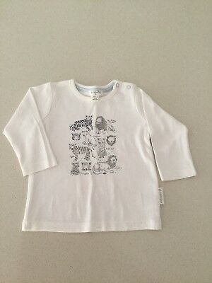 Never Worn Purebaby Organic Cotton Animal Long Sleeve White Top, Size 6-12 Month