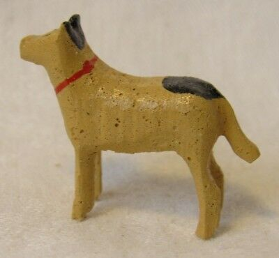 Vintage Christmas Miniature Village Wood Putz GERMANY CARVED DOG RARE