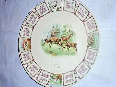 """1911 Calendar Plate 9""""~All 12 Months Distinct, Nature & Wildlife Pictures~100yrs"""