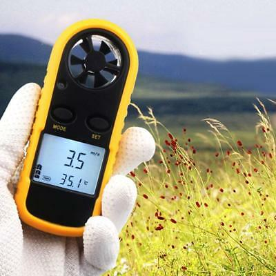 Anemometer Handheld Mini Digital Wind Speed Air Temperature Black/Yellow LCD New