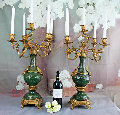 XXL PAIR french Candelabras Rococo metal spelter bronze  5 arms antique