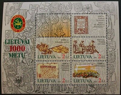 Lithuania millenary, (2nd series) stamp sheet, 2005, SG ref: MS862, 4 stamps MNH