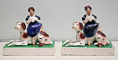 Two Rare Antique c19th Staffordshire, Girl Seated with Irish Setter & Dove