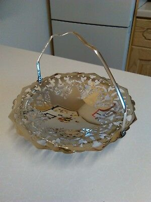Vintage Silver Plated Sweet Dish with Swing Handle & Pierced Decoration (1479)